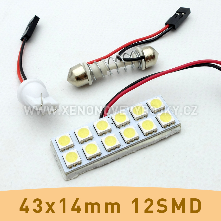 SMD LED panel 43x14mm 12smd s adaptérem pro sufitku 31 - 44mm a T10
