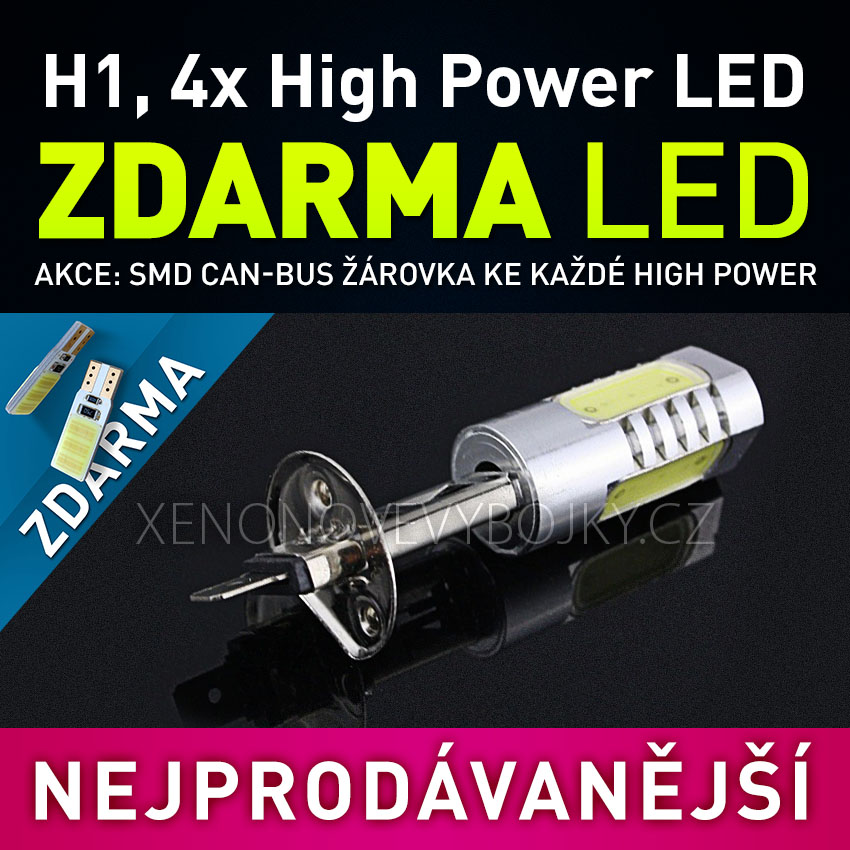 AKCE - LED žárovka 12V s paticí H1, 4x High Power SMD LED, 1ks