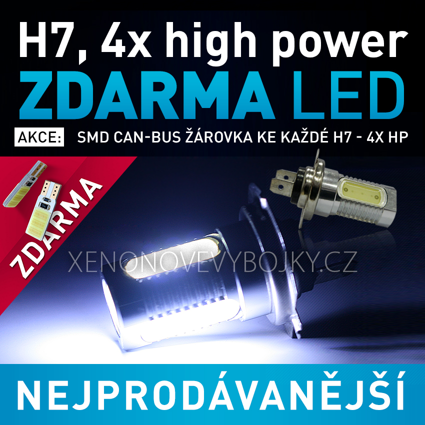AKCE - LED žárovka 12V s paticí H7, 4x High Power LED, 1ks